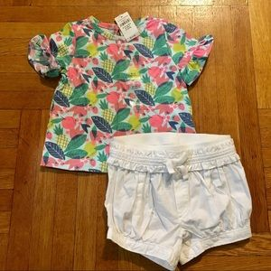 NEW Gap Baby Girls Leafy Fruit Top & White Shorts